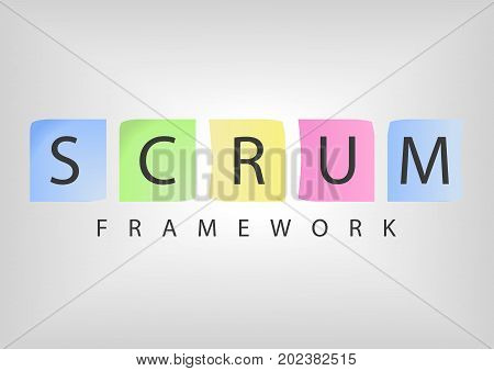 SCRUM agile software development framework as vector illustration