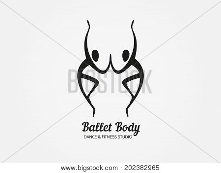 Dance icon concept. Ballet studio logo design template. Fitness dance class banner background with symbol of abstract people ballerina and dancer in dancing poses. Vector black white illustration.