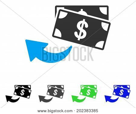 Cashback vector pictograph. Style is a flat graphic symbol in black, gray, blue, green color versions. Designed for web and mobile apps.
