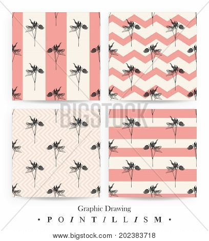 Set of seamless patterns with Clematis flowers and pink stripes isolated on beige background. Graphic drawing pointillism technique. Botanical natural collection. Floral illustration drawn by hand