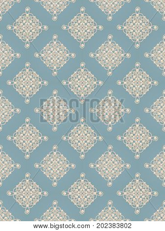 Elegant golden knot signs. Blue and beige pastel seamless pattern beautiful calligraphic flourish with pearls. Raster illustration.