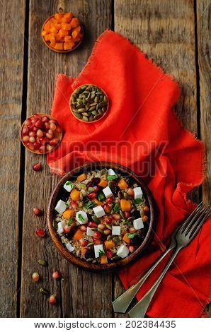 Pumpkin pomegranate dried cranberry goat cheese quinoa salad