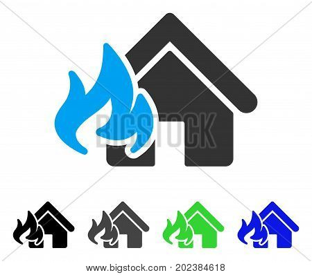 Fire Damage vector pictograph. Style is a flat graphic symbol in black, gray, blue, green color versions. Designed for web and mobile apps.