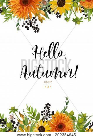 Vector floral watercolor card design Autumn orange gerbera yellow sunflower flower green fern berry greenery forest colorful fall leaves mix. Greeting rustic wedding invitation Frame border text space
