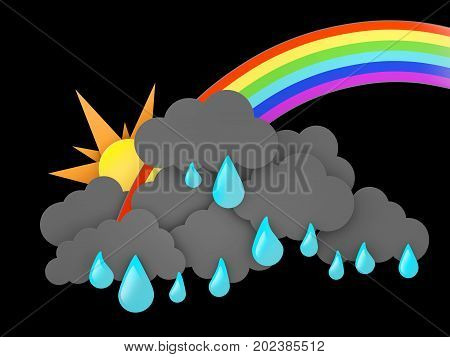 3d illustration of Rainbow, Rainclouds and Sun with water drops on black background.