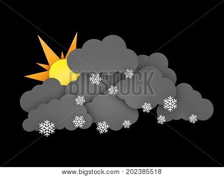 3d illustration of Snowflakes, Rainclouds and Sun on black background.