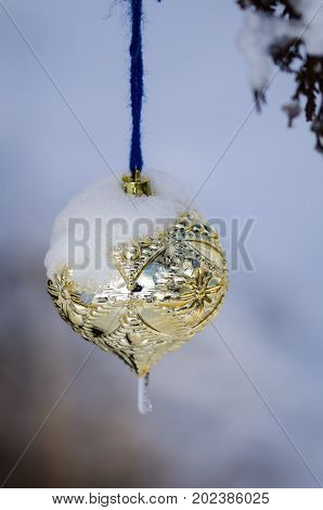 Frozen Golden Christmas Ornament Decorating a Snowy Outdoor Tree