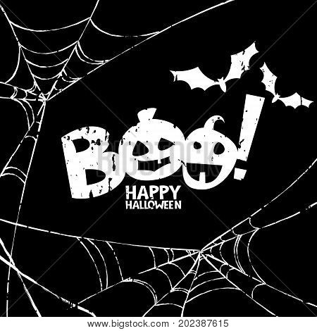 Happy Halloween Vector Design Elements. Boo, Bat And Watercolor Spiderweb On Black Background.
