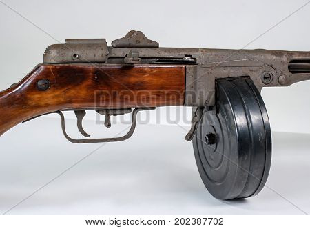 submachine gun ppsh-41 on a light background. The view on the right. Close-up of the slot machine.