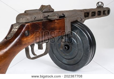 submachine gun ppsh-41 on a light background. View rear right. Close-up of the slot machine.