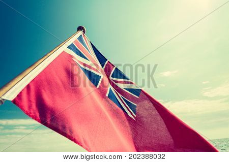 Uk Red Ensign The British Maritime Flag Flown From Yacht