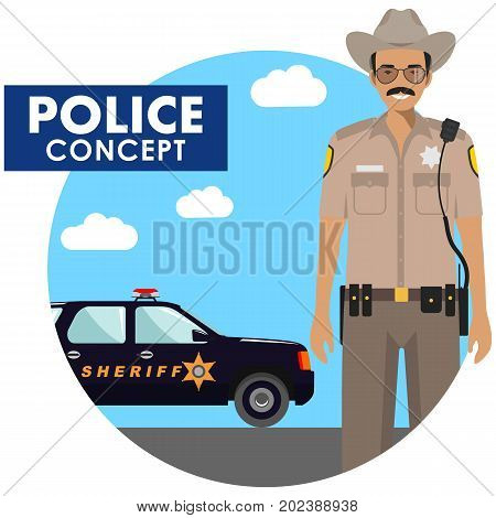 Detailed illustration of police officer in uniform on background with police car in flat style. Vector illustration.