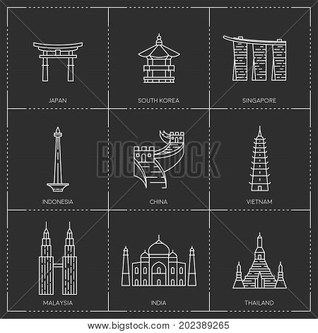The collection include Japan, South Korea, Singapore, Indonesia, China, Vietnam, Malaysia, India and Thailand famous buildings and monuments.