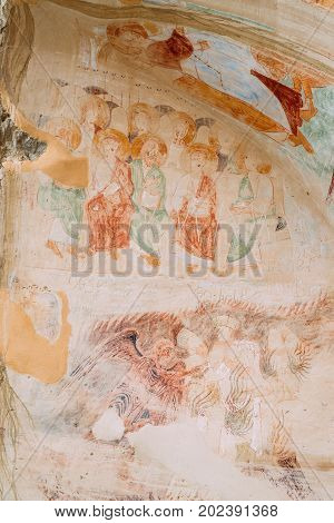 Ancient Surviving Frescoes In Walls Of Caves Of David Gareja Monastery Complex. Davit Gareji Monastery Is Located Is Southeast Of Tbilisi, In Historical Region Sagarejo. It Was Founded In 6th Century