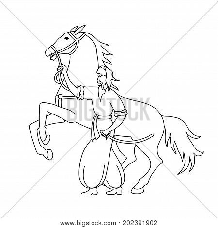 Vector illustration of cossack with sword and horse