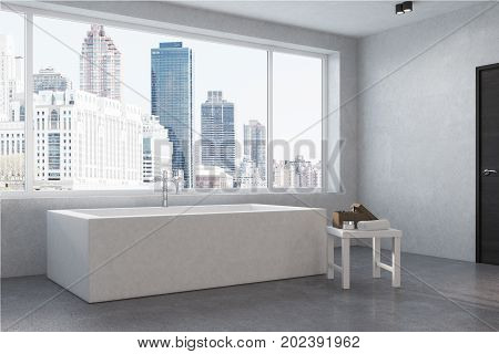 City Apartment, Angular Bathtub, Corner, White