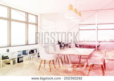White Meeting Room Interior Corner, Double