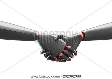 Two Gray Robots Shaking Hands, White