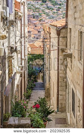 The old city of Dubrovnik a UNESCO World Heritage Site with rooftops cathedral towers and one of the typical narrow streets