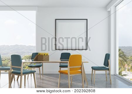 Green And Yellow Chairs Dining Room, Poster