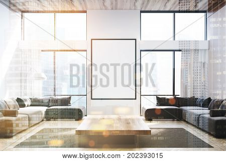 White Living Room, Gray Sofas And A Poster Toned