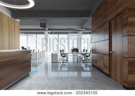 Dark Wood Reception In Open Space Office, Side