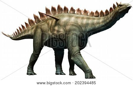 Prehistoric Miragaia dinosaur walking slowly 3D illustration