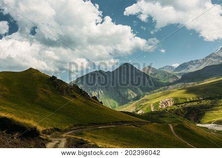 Picturesque Mountain Landscape In Summer. Elbrus Region North Caucasus Russia