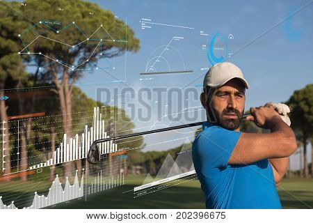 pro golf player shot the ball from sand bunker at course with infographics in the background