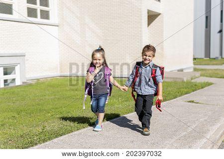 Nice pre school children on the school playground