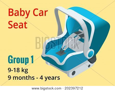 Isometric baby car seat group 1 vector illustration. Road Safety Type of child restraint rearward-facing baby seat, forward-facing child seat, booster cushion.