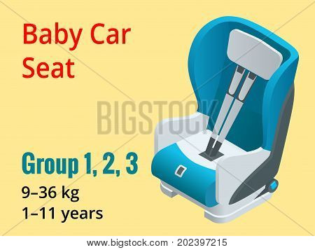 Isometric baby car seat group 1, 2, 3 vector illustration. Road Safety Type of child restraint rearward-facing baby seat, forward-facing child seat, booster cushion.