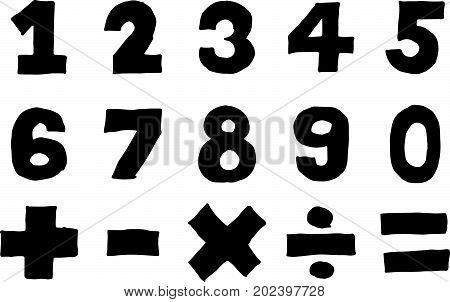 Black color hand drawing of number and mathematic symbol (Plus minus multiply divide sign) on white background