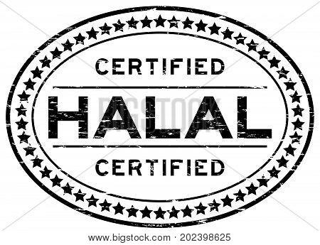 Grunge black halal certified oval rubber seal stamp on white background