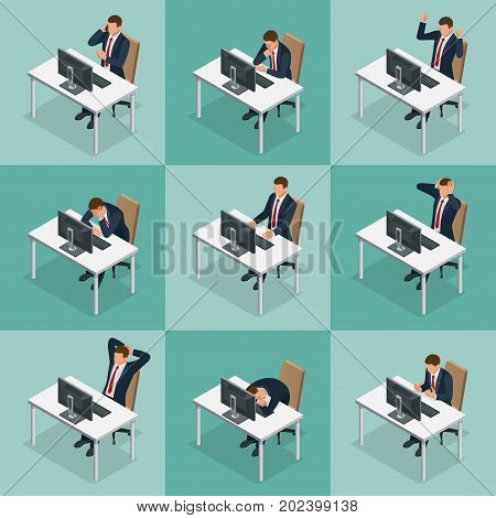 Isometric set of Businessman and businesswoman character design. People isometric business man in different poses isolated. Working in office
