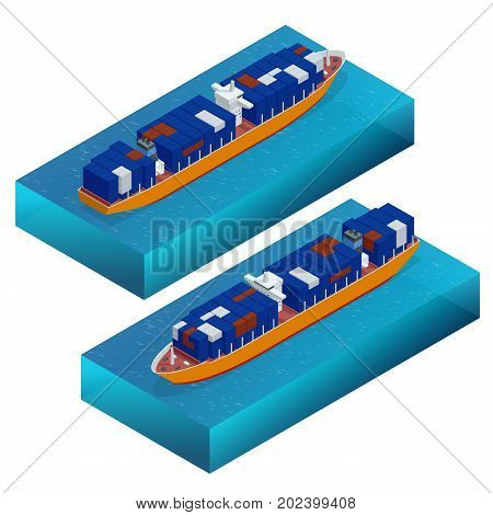 Isometric container ship. Cargo vessel. Detailed cargo ship vector isolated. Global cargo shipping concept. Ferry ship.
