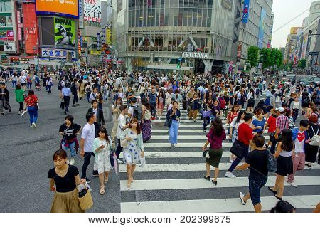 TOKYO, JAPAN JUNE 28 - 2017: Unidentified pedestrians crossing the Shibuya street in Tokyo, Japan. The famous scramble crosswalk is used by over 2.5 million people daily.