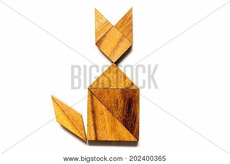 Wood tangram puzzle in cat sitting shape on white background