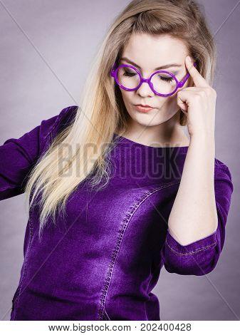 Thinking Business Woman Wearing Eyeglasses