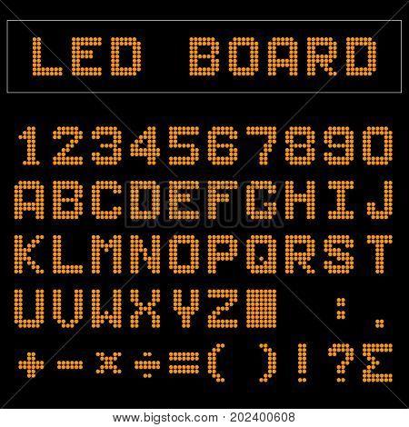 Orange LED digital english uppercase font number and mathematics symbol display on black background