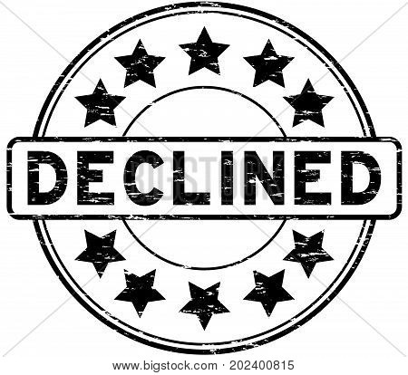 Grunge black declined with star icon round rubber seal stamp on white background