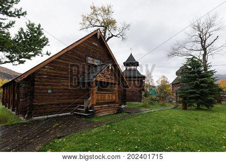 ESSO VILLAGE KAMCHATKA PENINSULA RUSSIAN FAR EAST - SEPTEMBER 18 2013: Wooden building in Bystrinsky Ethnographic Museum in Bystrinsky Region on Kamchatka Region.