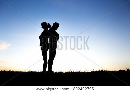 A Couple silhouette breaking up a relation