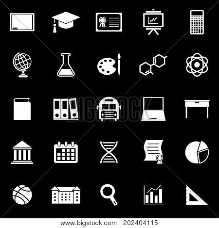 Education icons on black background, stock vector