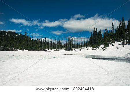 Snow-covered Reflection Lake in Mount Rainier National Park during June
