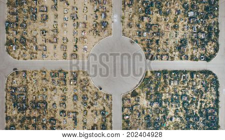 aerial view of a cemetry captured by drone