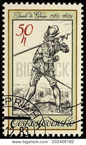 Moscow Russia - August 31 2017: A stamp printed in Czechoslovakia shows bodyguard of King Rudolf II engraving by Jacob de Gheyn (1565-1629) series