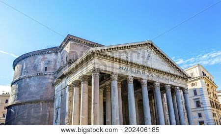 Columns Pantheon Rome Italy Rebuilt by Hadrian in 118 to 125 AD Became oldest Roman church in 609 AD.
