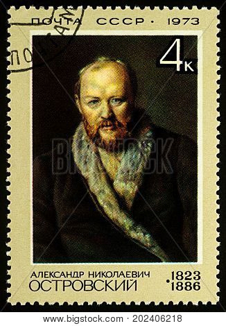 Moscow Russia - August 31 2017: A stamp printed in USSR (Russia) shows portrait of Russian playwright Alexander Ostrovsky devoted to the 150th Birth Anniversary of A.N.Ostrovsky circa 1973