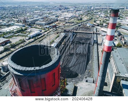 aerial view smokestack pipe energy plant factory